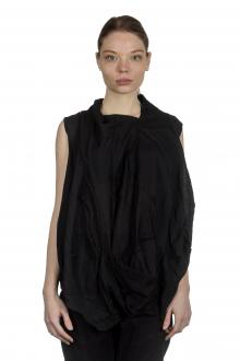 Rundholz Damen Bluse mit drapiertem Kragen schwarz