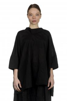 Rundholz Dip Damen Bluse in A-Linie mit drapiertem Kragen schwarz