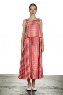 Apuntob Damen Ausgestelltes Trägerkleid mit Karomuster rot weiß
