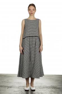 Apuntob Damen Ausgestelltes Trägerkleid mit Karomuster schwarz weiß