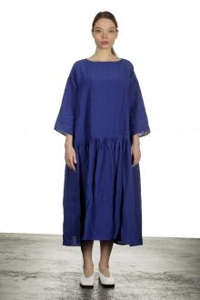 Apuntob Damen Ausgestelltes Kleid in Midi-Länge blau