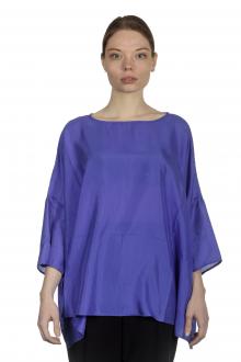 Apuntob Damen Bluse in A-Linie blau