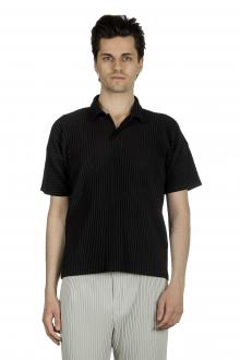 Homme Plissé Issey Miyake Herren Poloshirt schwarz