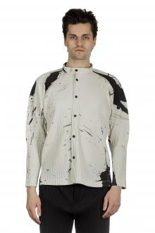 Homme Plissé Issey Miyake Herren Hemd mit Print schwarz/weiss
