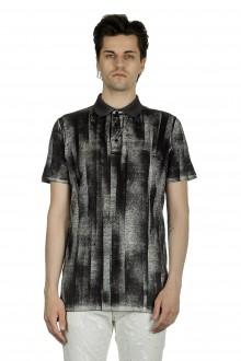 AVANT TOI Herren Poloshirt mit abstraktem Print anthrazit
