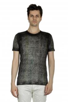 AVANT TOI Herren Leinen T-Shirt mit gebürstetem Effekt anthrazit