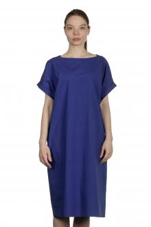 Katharina Hovman Damen Kleid mit kurzen Ämeln blau