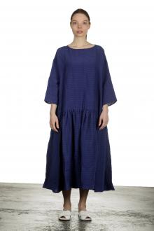 Apuntob Damen Ausgestelltes Kleid mit Karomuster in Midi-Länge blau