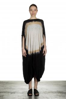Gilda Midani Damen Ballonkleid lang schwarz mit Print