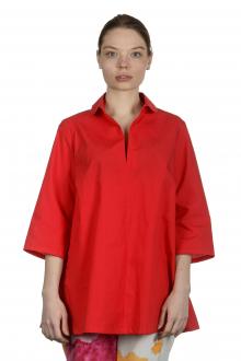 Katharina Hovman Damen Bluse in A-Linie mit Hemdkragen rot