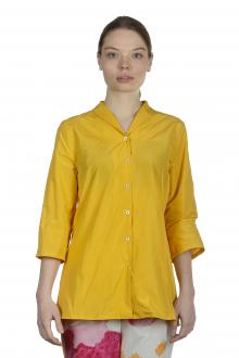 Katharina Hovman Damen Bluse mit Schalkragen 3/4 Arm gelb