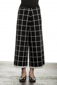 Sarah Pacini Damen Gaucho Hose mit Schal schwarz weiß