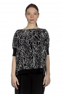 Sarah Pacini Damen Kurzer Pullover mit grafischem Print schwarz weiß