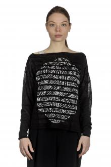Sarah Pacini Damen Asymmetrischer Pullover mit Muster schwarz weiß