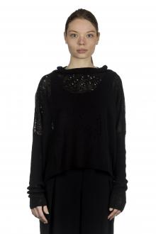 Sarah Pacini Damen Cropped Pullover mit drapiertem Kragen schwarz