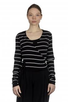 Sarah Pacini Damen Wickeljacke mit graphischem Print schwarz weiß