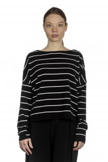 Sarah Pacini Damen Cropped Pullover mit Streifen schwarz weiß