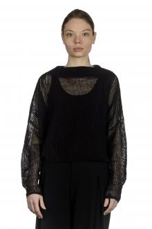 Sarah Pacini Damen Cropped Strickpullover schwarz