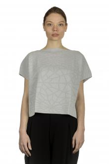 Sarah Pacini Damen Cropped Pullover mit geometrischem Muster hellgrau