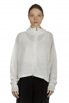 Sarah Pacini Damen Leinenstrickjacke mit floralem Muster weiß