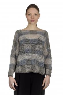 Sarah Pacini Damen Cropped Strickpullover mit Patchwork-Muster mehrfarbig