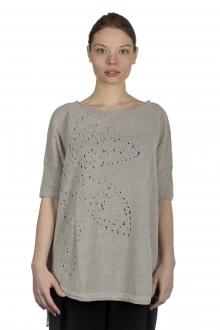 Sarah Pacini Damen Leinenpullover mit Muster beige