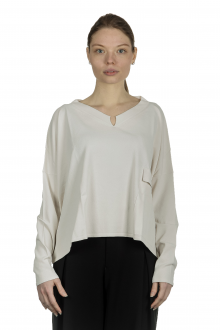 Sarah Pacini Damen Cropped Pullover mit V-Ausschnitt off-white