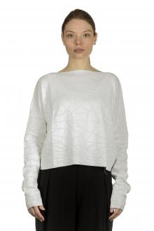 Sarah Pacini Damen Cropped Pullover mit geometrischem Muster weiß