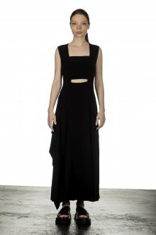 Yohji Yamamoto Damen Asymmetrisches Kleid mit Cut-Outs schwarz
