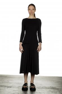 Y's Yohji Yamamoto Damen Asymmetrisches Kleid in Midi-Länge schwarz