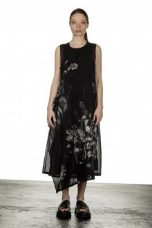 Y's Yohji Yamamoto Damen Kleid mit abstraktem Print schwarz