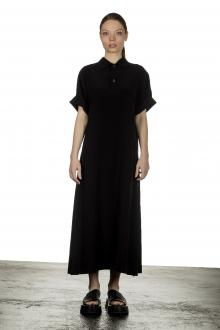 Yohji Yamamoto Damen Hemdblusenkleid in Midi-Länge schwarz