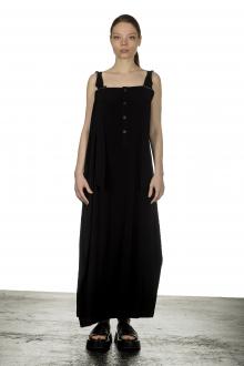 Yohji Yamamoto Damen Asymmetrisches Kleid in Maxi-Länge schwarz