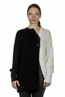 Y's Yohji Yamamoto Damen Strickjacke asymmetrisch bicolor schwarz weiß