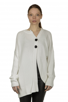 Y's Yohji Yamamoto Damen Strickjacke asymmetrisch weiß