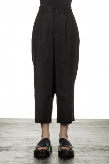 Yohji Yamamoto Damen 7/8 Hose mit hohem Bund schwarz
