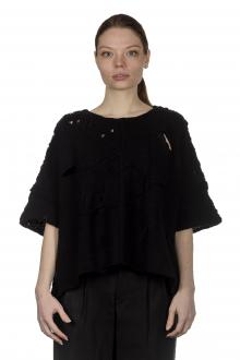 Y's Yohji Yamamoto Damen Cropped-Pullover im Distressed-Look schwarz
