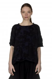 Y's Yohji Yamamoto Damen Cropped-Pullover im Camouflage-Look schwarz blau