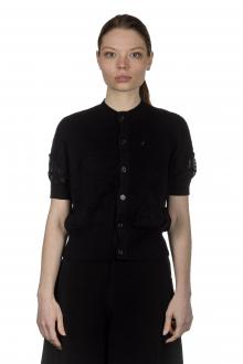 Y's Yohji Yamamoto Damen Cropped Cardigan im gestrickten Design schwarz