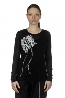 Y's Yohji Yamamoto Damen Langarm Shirt mit abstrakter Verzierung schwarz