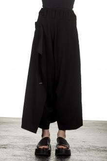 Yohji Yamamoto Damen Asymmetrischer Hosenrock mit weitem Bein schwarz