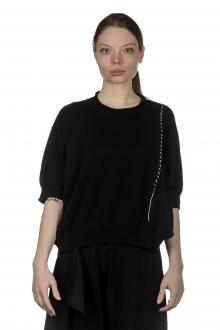 Y's Yohji Yamamoto Damen Cropped-Pullover mit Verzierung schwarz