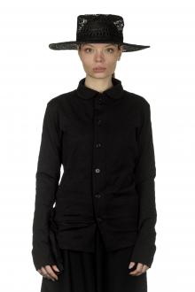 Y's Yohji Yamamoto Damen Papierhut mit Webmuster schwarz