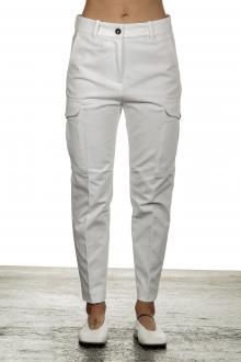 Nine In The Morning Damen Cropped-Cargo Hose mit hohem Bund weiß