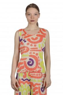 Pleats Please Issey Miyake Damen Top mit abstrakten Print