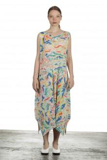 Pleats Please Issey Miyake Kleid mit abstraktem Print mehrfarbig