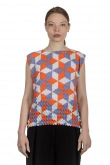 Issey Miyake Damen Strukturiertes Top mit grafischem Print mehrfarbig