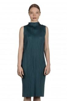 Pleats Please Issey Miyake Plissiertes Kleid mit Stehkragen grün