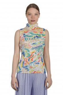 Pleats Please Issey Miyake Damen Plissé Top mit abstraktem Print mehrfarbig