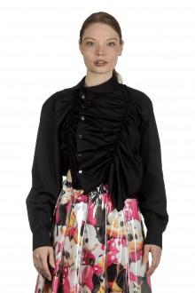 Comme Des Garçons Damen asymmetrisches Gerafftes Hemd schwarz